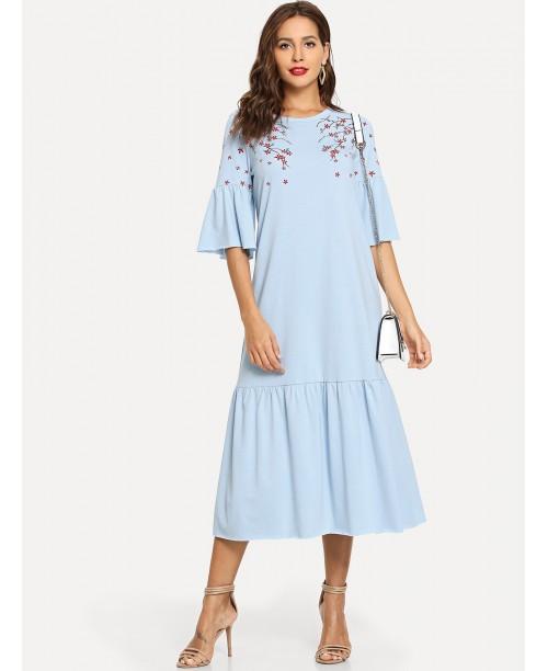 Flower Blossom Print Fluted Sleeve Tiered Hem Dress