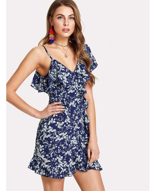 Flower Print Asymmetrical Shoulder Ruffle Trim Dress