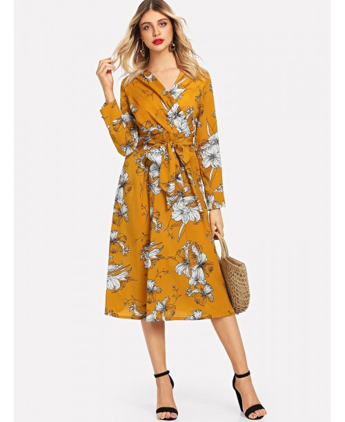 Flower Print Belt Wrap Dress