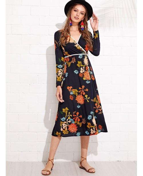 Flower Print Contrast Binding Wrap Dress