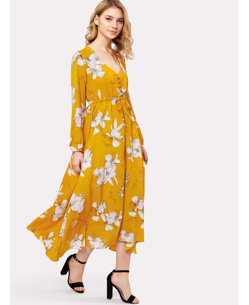 Flower Print Drawstring Waist Button Front Dress