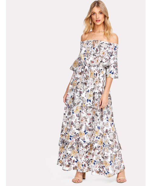 Flower Print Knot Front Ruffle Trim Bardot Dress