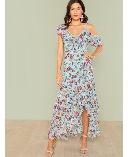 Flower Print Ruffle Hem Dress
