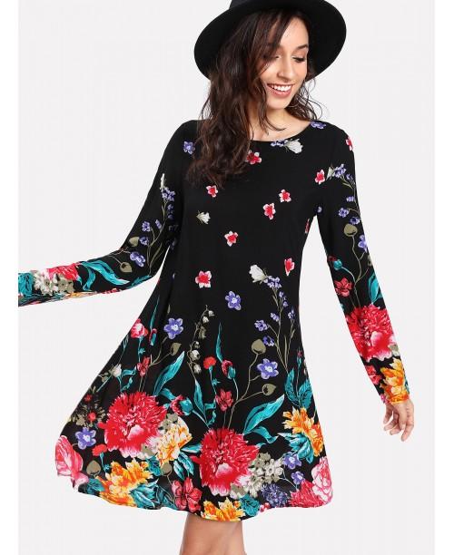 Flower Print Swing Dress