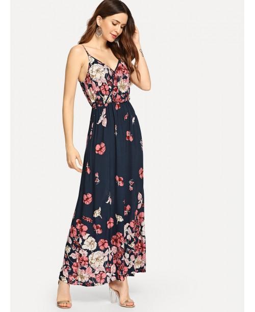 Flower Print Wrap Front Cami Dress