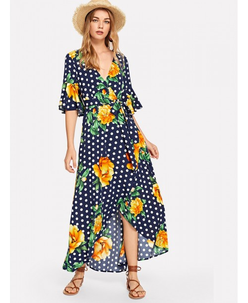 Flower & Polka Dot Print Wrap Dress