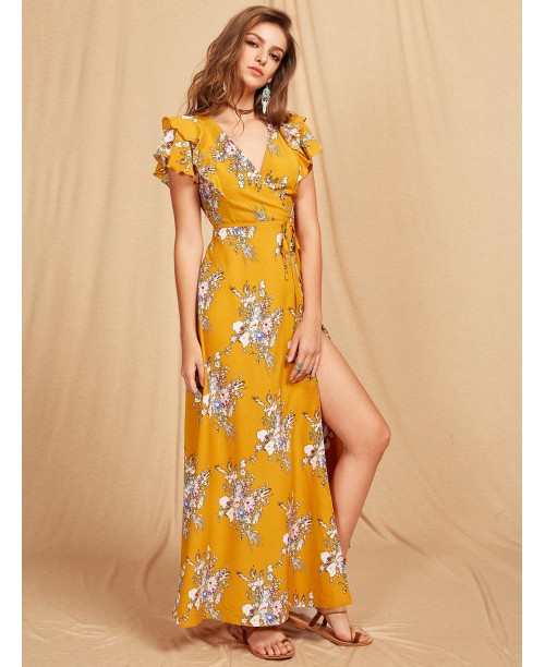 Flutter Sleeve Crisscross Back Surplice Wrap Botanical Dress