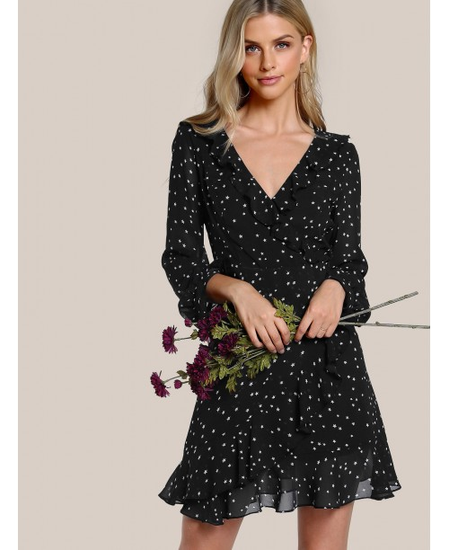 Flutter Sleeve Frilled Surplice Wrap Dress