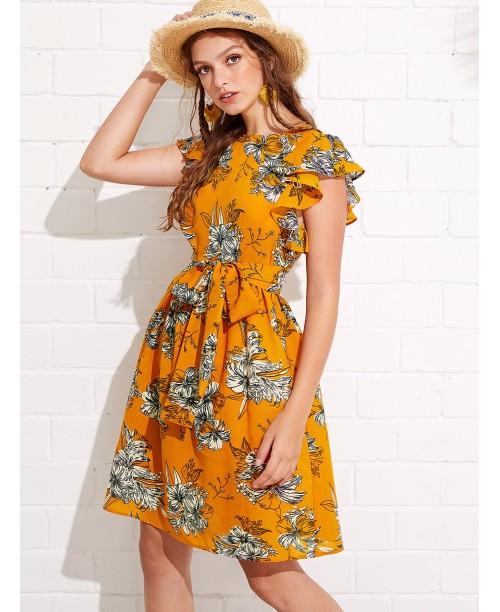 Flutter Sleeve Self Belted Floral Dress
