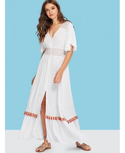 Flutter Sleeve Split Front Dress