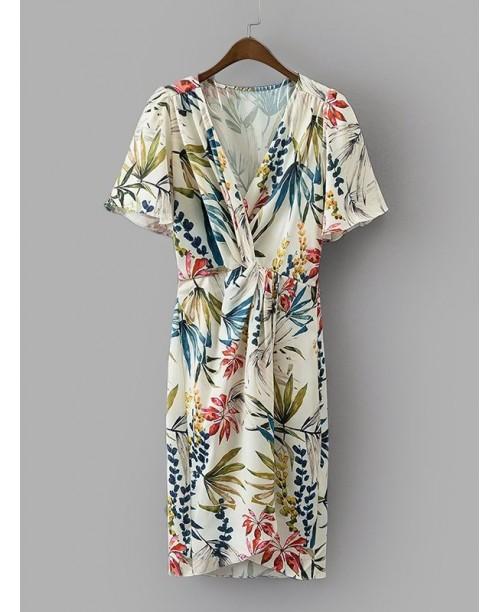 Foliage Print Twist Front Dress