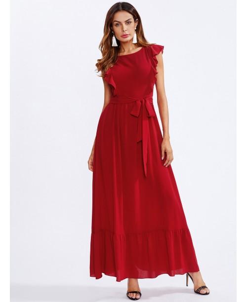 Frill Shoulder And Hem Self Belted Dress