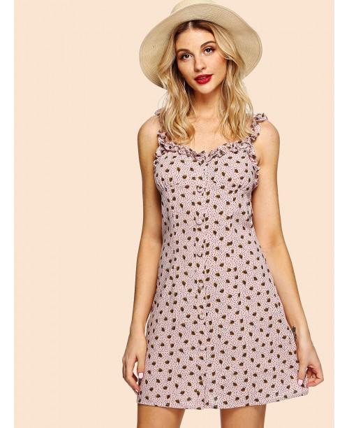 Frill Trim Button Up Dress