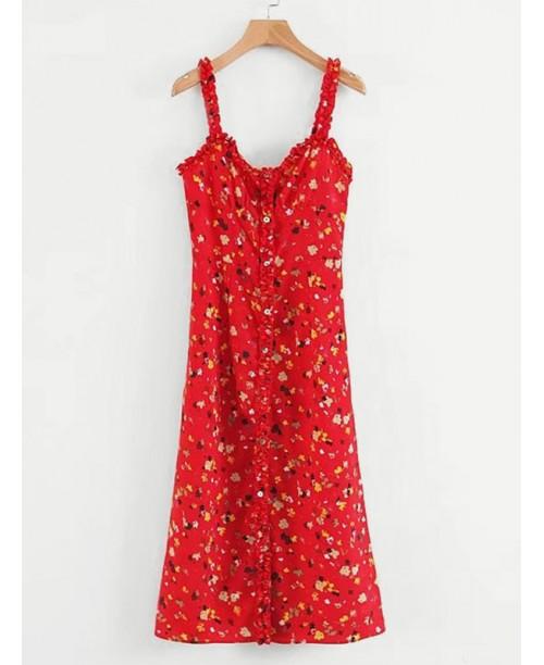 Frill Trim Calico Print Cami Dress