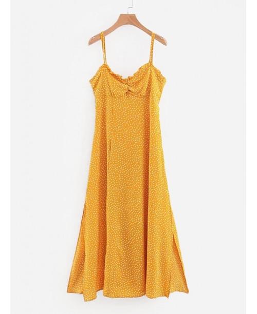 Frill Trim Knot Back Spot Dress