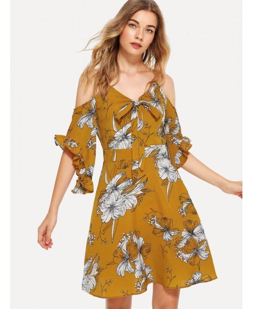 Frill Trim Knot Front Floral Dress