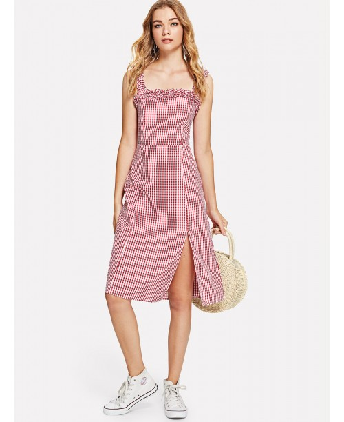 Frill Trim Split Hem Gingham Dress