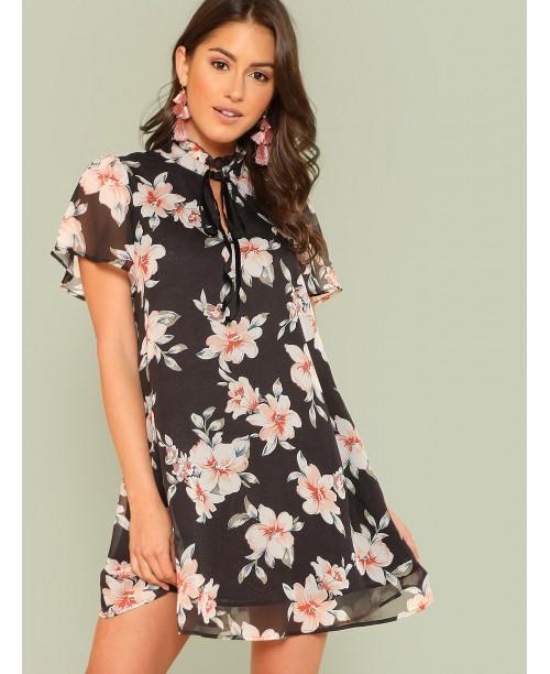 Frilled Tie Neck Floral Dress