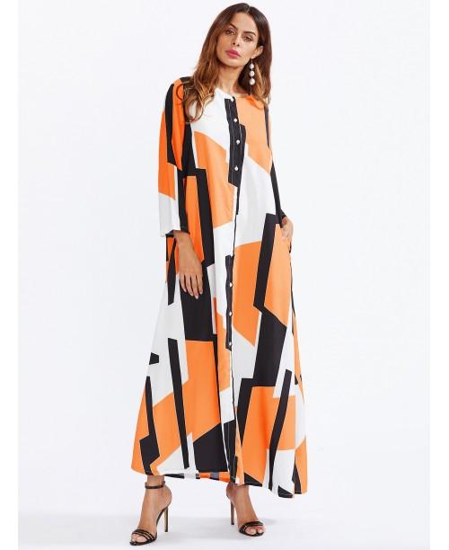 Geo Print Patchwork Shirt Dress