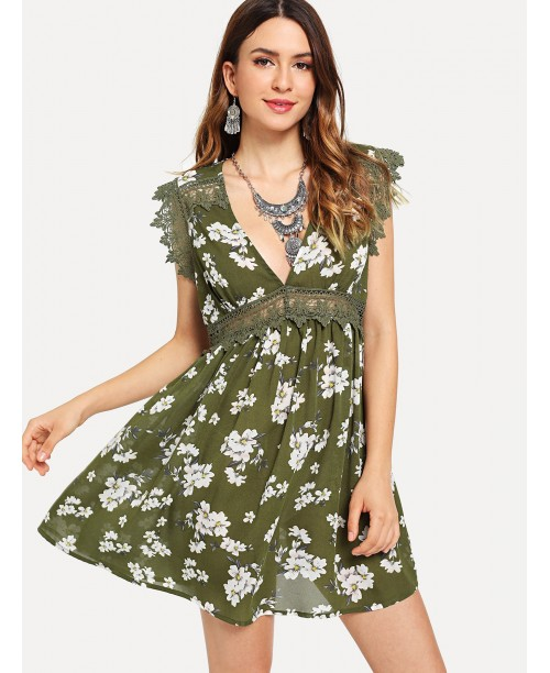 Guipure Lace Trim Floral Swing Dress