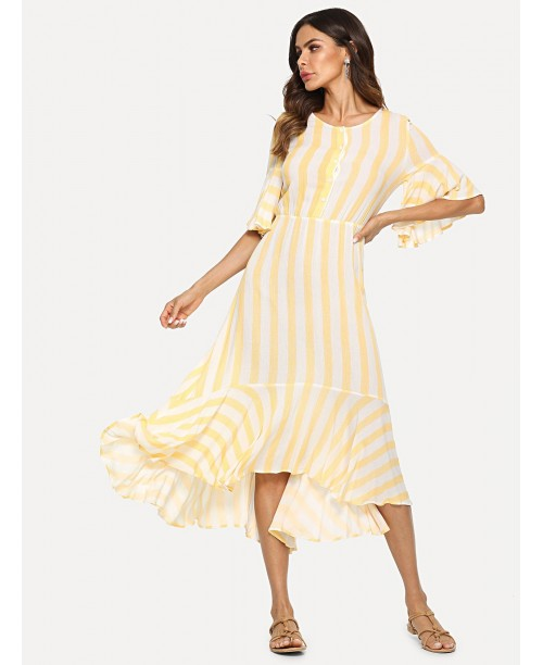 Half Placket Bell Sleeve Striped Dress