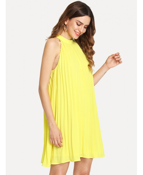 Halter Neck Pleated Panel Swing Dress