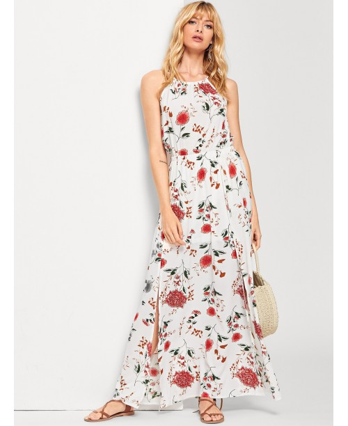 Halterneck Maxi Floral Dress