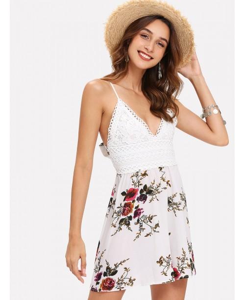 Knot Back Floral Print Cami Dress