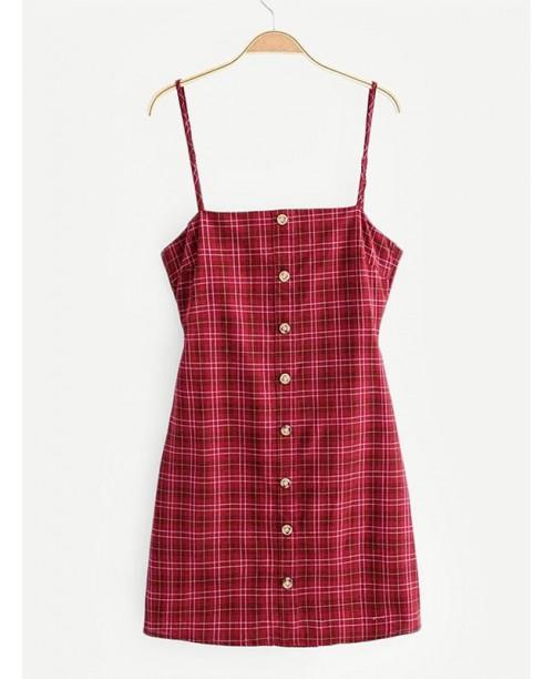 Knot Back Tartan Plaid Cami Dress