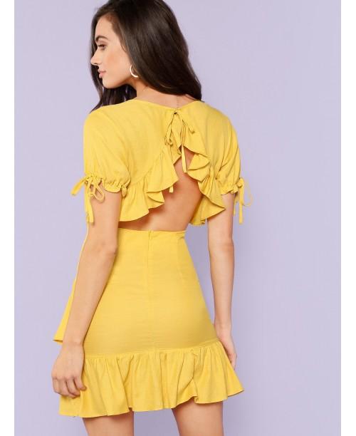 Knot Detail Asymmetrical Ruffle Hem Wrap Dress