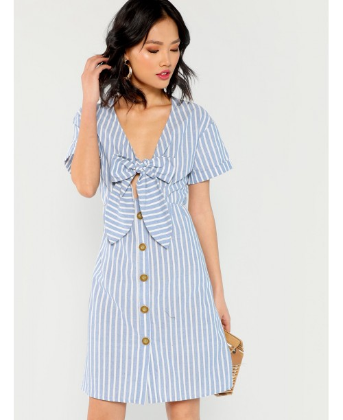 Knot Front Button Up Striped Dress