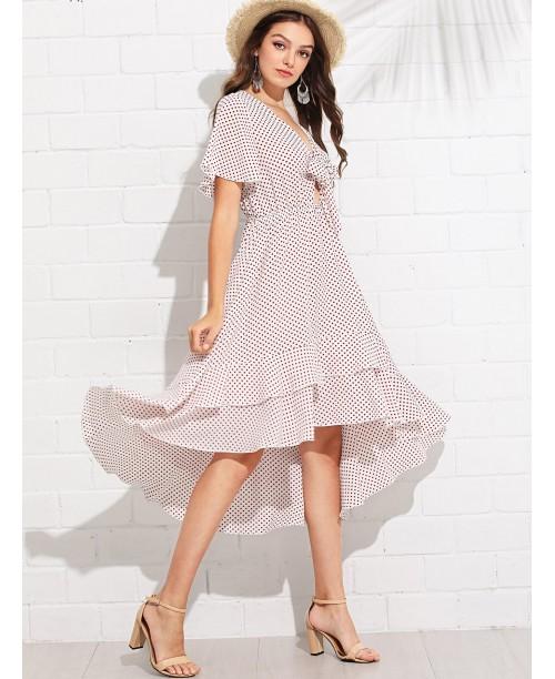 Knot Front Layered Ruffle Polka Dot Dress