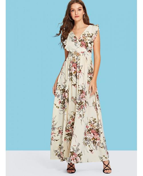 Knot Open Back Ruffle Armhole Surplice Wrap Dress