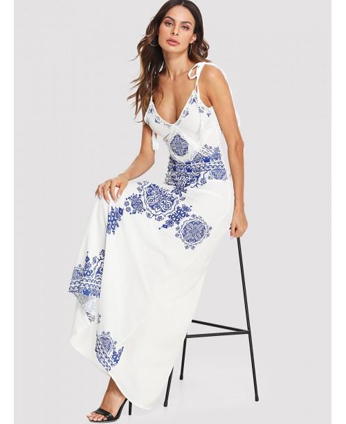 Knot Shoulder Tassel Detail Printed Dress