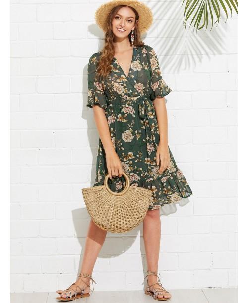 Knot Side Floral Print Ruffle Hem Wrap Dress