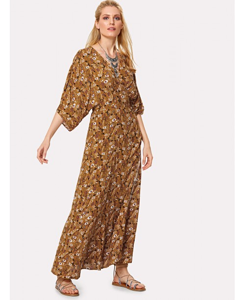 Knot Wrap Back Floral Dolman Dress