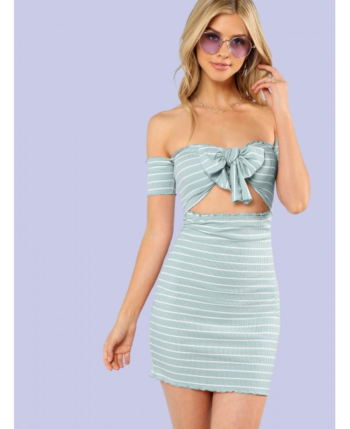 Knotted Open Front Striped Bardot Dress