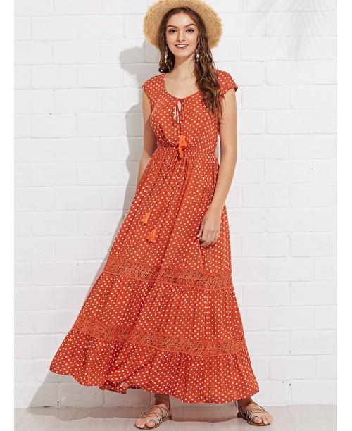 Lace Applique Dot Swing Dress