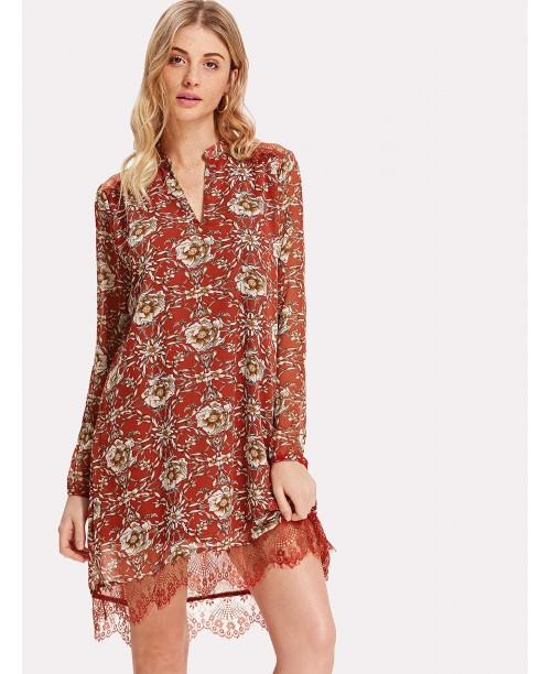 Lace Hem Cutout Back Botanical Tunic Dress