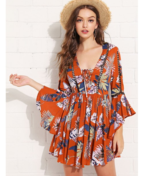 Lace Insert Bell Sleeve Tropical Dress