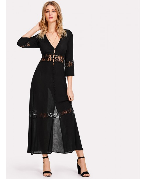 Lace Insert Button Up Plunging Dress