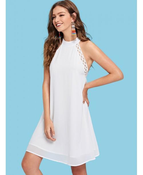 Lace Trim Open Back Halter Dress