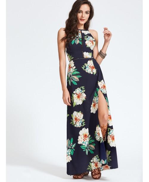 Navy Florals Open Back Bow Tie Slit Hem Dress