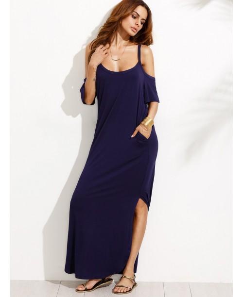 Navy Pocket Cold Shoulder Split Maxi Dress