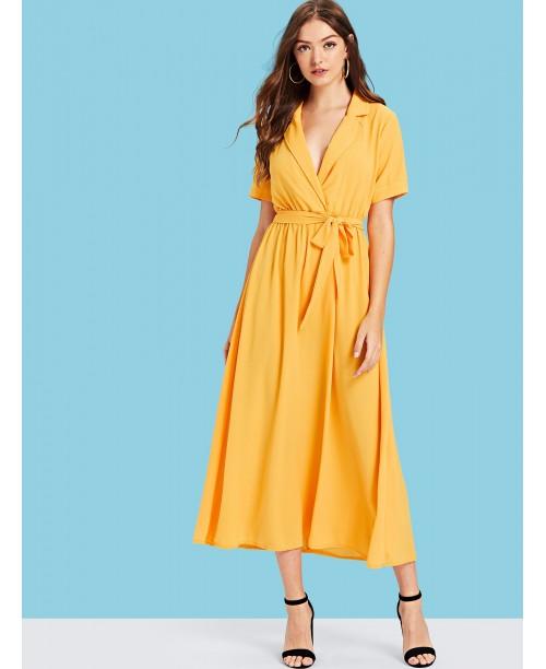 Notch Collar Belted Wrap Dress