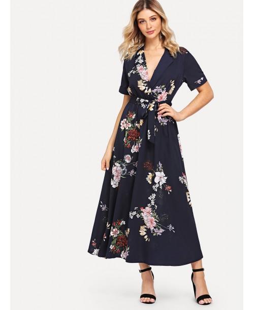 Notch Collar Wrap Front Belted Botanical Dress