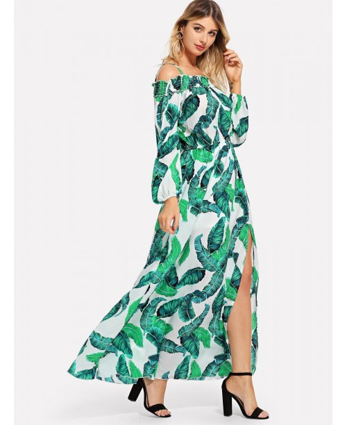Off Shoulder Belted Tropical Print Dress