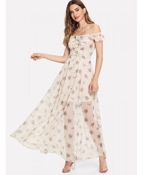 Off Shoulder Ditsy Dress
