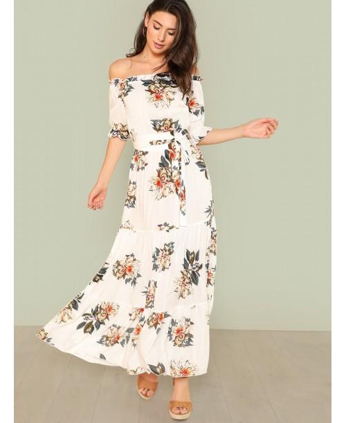 Off Shoulder Fit & Flare Maxi Dress