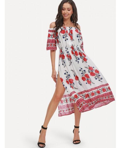 Off Shoulder Floral Print Split Dress